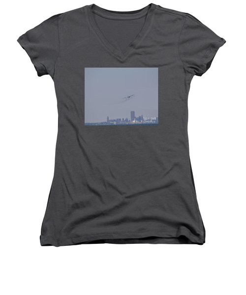 Women's V-Neck T-Shirt (Junior Cut) featuring the photograph C130 Over Buffalo by Jim Lepard