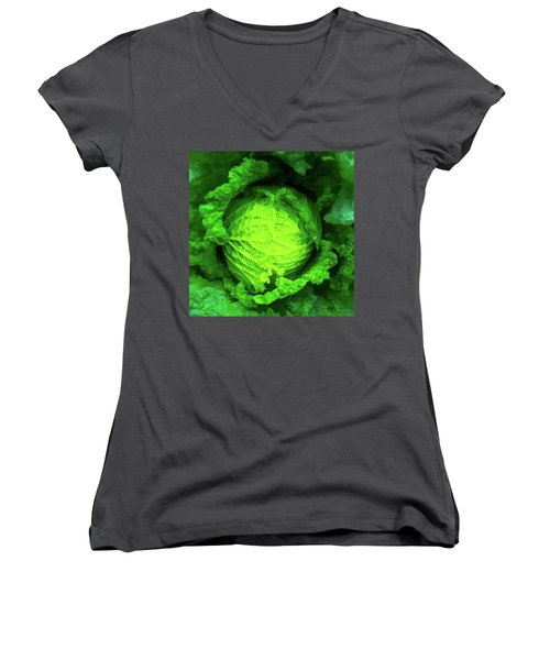 Cabbage 02 Women's V-Neck T-Shirt (Junior Cut) by Wally Hampton