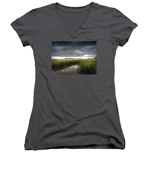 Women's V-Neck T-Shirt (Junior Cut) featuring the photograph Cabbage Inlet Cold Front by Phil Mancuso