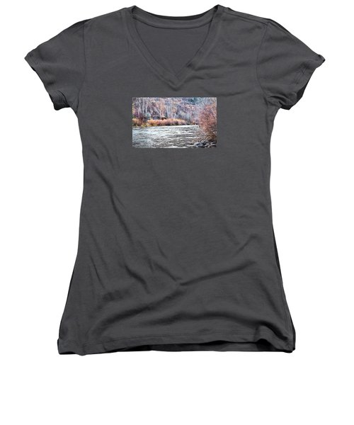 Women's V-Neck T-Shirt (Junior Cut) featuring the photograph Cabin By The River In Steamboat,co by James Steele