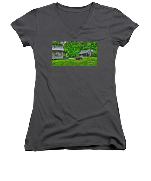 Women's V-Neck T-Shirt (Junior Cut) featuring the photograph Cabin Fever Great Smoky Mountains Art by Reid Callaway