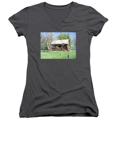 Cabin In The Mountains Women's V-Neck