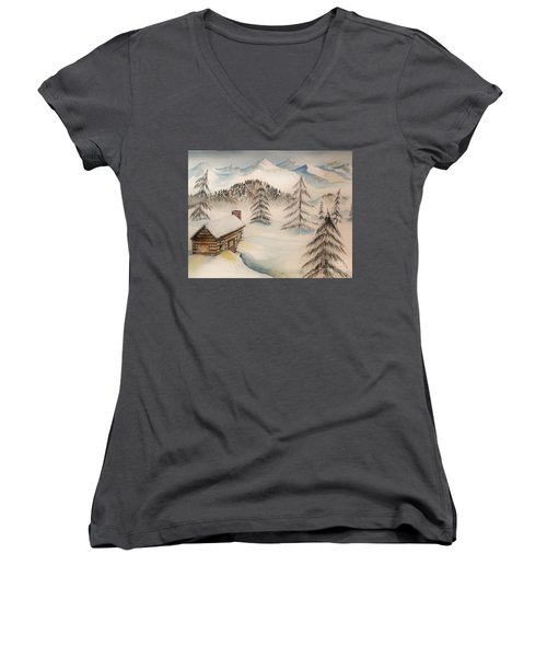 Cabin In The Rockies Women's V-Neck (Athletic Fit)