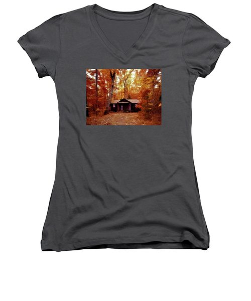 Women's V-Neck T-Shirt (Junior Cut) featuring the painting Cabin In The Woods P D P by David Dehner