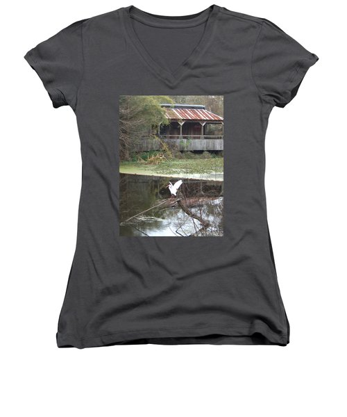 Cabin On The Bayou Women's V-Neck T-Shirt (Junior Cut)