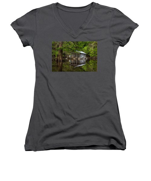 Cabin On The Lake Women's V-Neck (Athletic Fit)