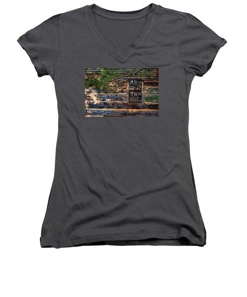 Cabin Window Women's V-Neck T-Shirt (Junior Cut) by Joanne Coyle