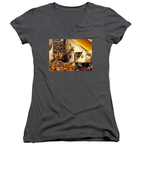 Cabinet Top Women's V-Neck T-Shirt (Junior Cut) by Ron Bissett