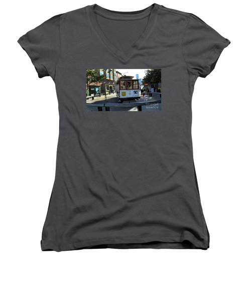 Women's V-Neck T-Shirt (Junior Cut) featuring the photograph Cable Car Turnaround by Steven Spak