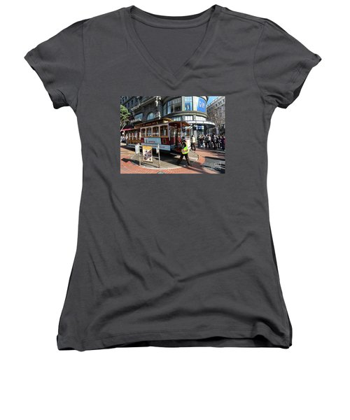 Women's V-Neck T-Shirt (Junior Cut) featuring the photograph Cable Car Union Square Stop by Steven Spak