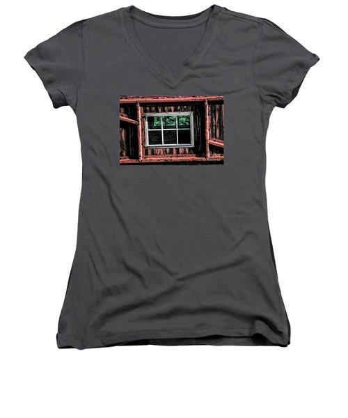 Women's V-Neck T-Shirt (Junior Cut) featuring the photograph Caboose Window by Brad Allen Fine Art
