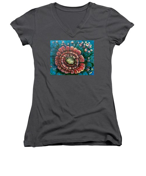 Women's V-Neck T-Shirt (Junior Cut) featuring the painting Cactus # 2 by Laila Awad Jamaleldin