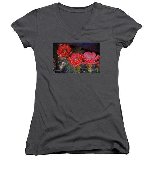 Cactus Flowers Women's V-Neck