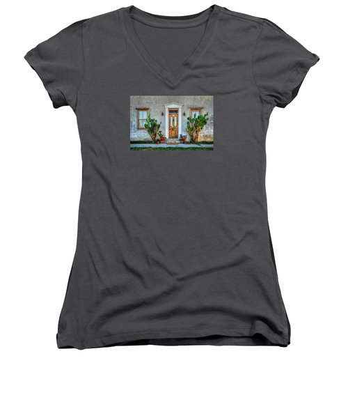 Women's V-Neck T-Shirt (Junior Cut) featuring the photograph Cactus Guards by Ken Smith