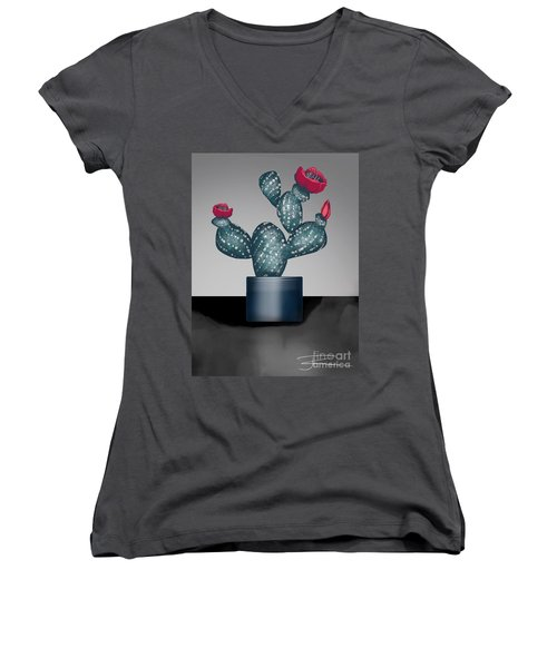 Cactus In Bloom II Women's V-Neck T-Shirt