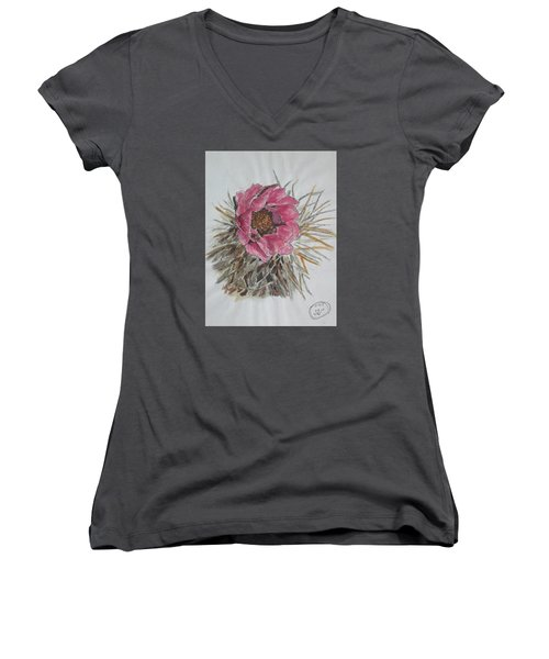 Cactus Joy Women's V-Neck T-Shirt (Junior Cut) by Sharyn Winters