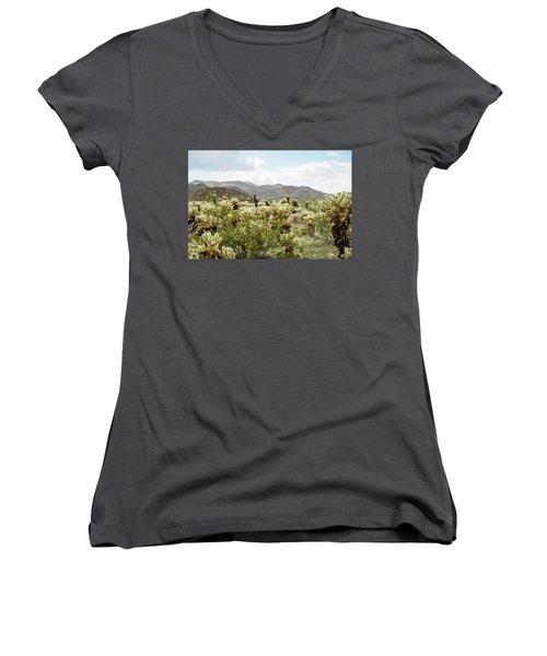 Cactus Paradise Women's V-Neck T-Shirt (Junior Cut) by Amyn Nasser
