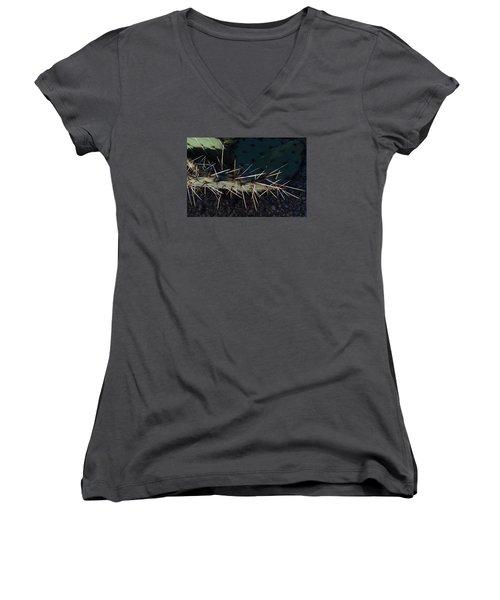 Women's V-Neck T-Shirt (Junior Cut) featuring the photograph Cactus San Tan 10 by Carolina Liechtenstein