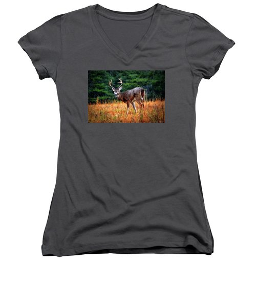 Cades Cove - The Buck Stopped Here 002 Women's V-Neck T-Shirt (Junior Cut) by George Bostian