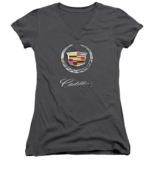 Cadillac - 3 D Badge On Red Women's V-Neck T-Shirt (Junior Cut) by Serge Averbukh