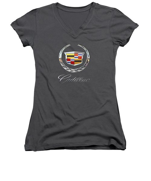 Cadillac 3 D  Badge Special Edition On Blue Women's V-Neck