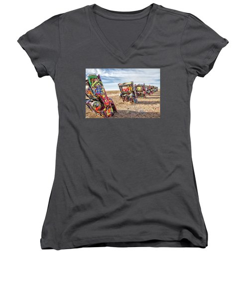 Cadillac Ranch 1 Women's V-Neck (Athletic Fit)