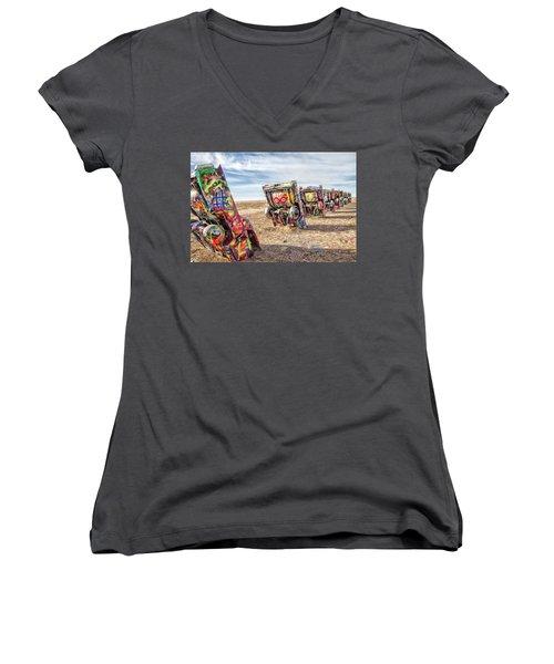 Cadillac Ranch 1 Women's V-Neck T-Shirt