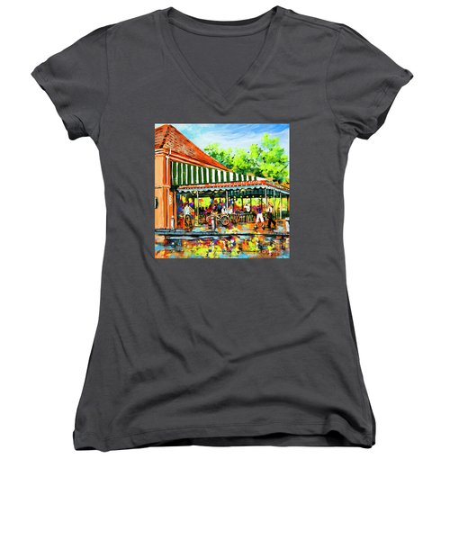 Cafe Du Monde Lights Women's V-Neck T-Shirt (Junior Cut) by Dianne Parks