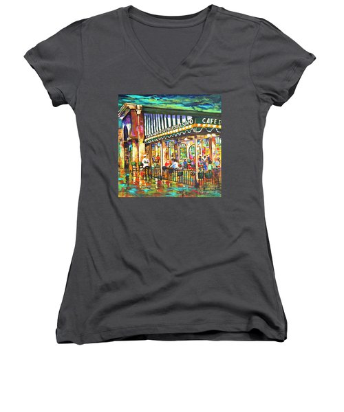 Cafe Du Monde Night Women's V-Neck T-Shirt (Junior Cut) by Dianne Parks
