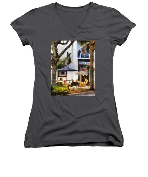 Women's V-Neck T-Shirt (Junior Cut) featuring the digital art Cafe by Francesa Miller