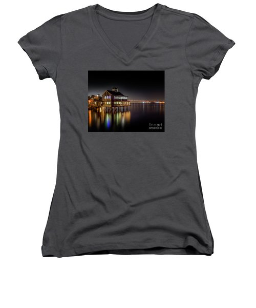 Cafe On The Port Women's V-Neck T-Shirt