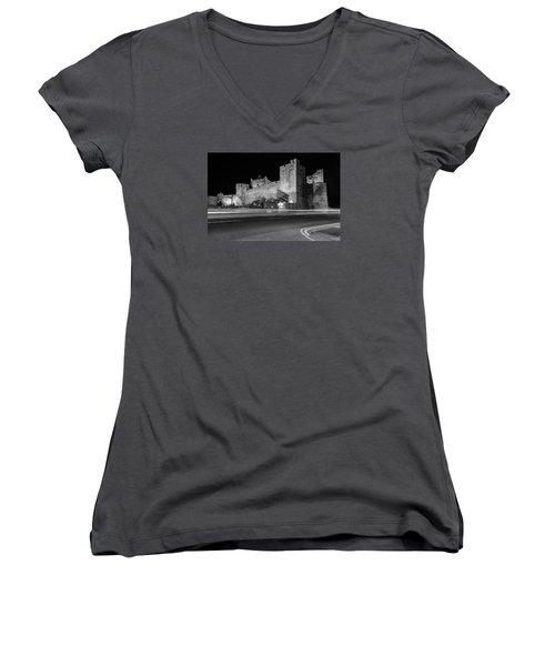 Cahir Castle At Night Women's V-Neck T-Shirt (Junior Cut) by Martina Fagan