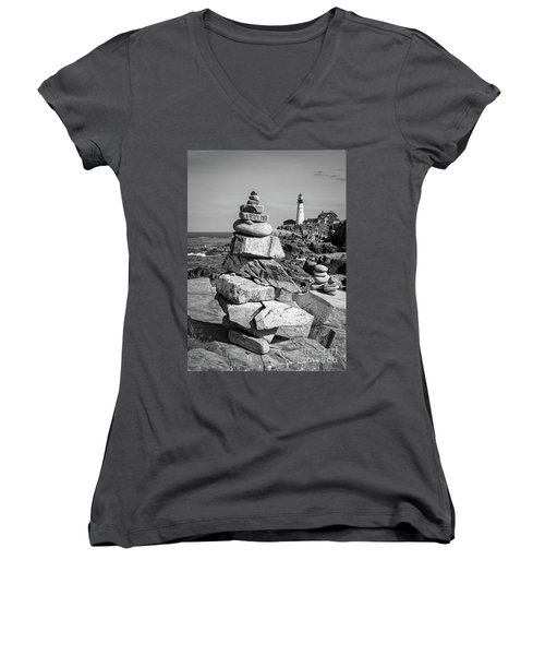 Women's V-Neck T-Shirt (Junior Cut) featuring the photograph Cairn And Lighthouse  -56052-bw by John Bald