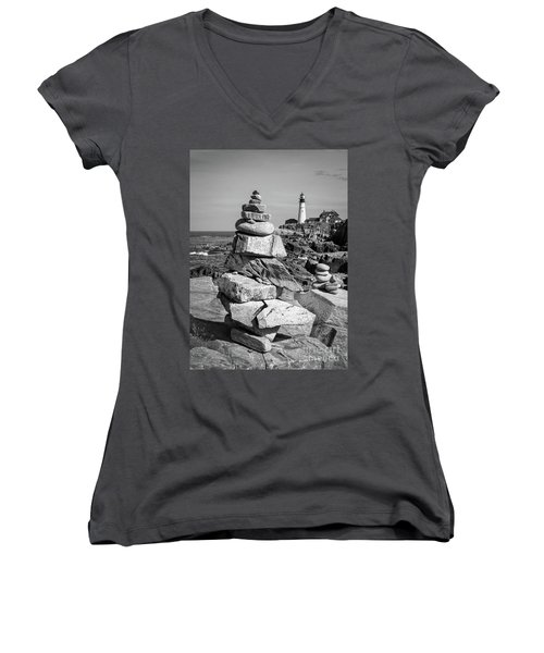 Cairn And Lighthouse  -56052-bw Women's V-Neck