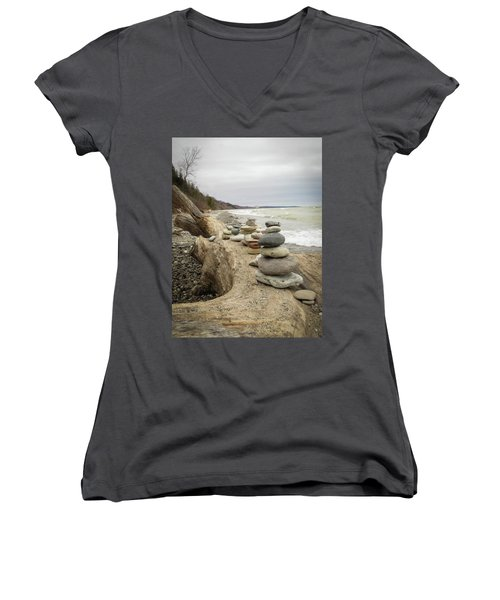 Cairn On The Beach Women's V-Neck T-Shirt (Junior Cut) by Kimberly Mackowski