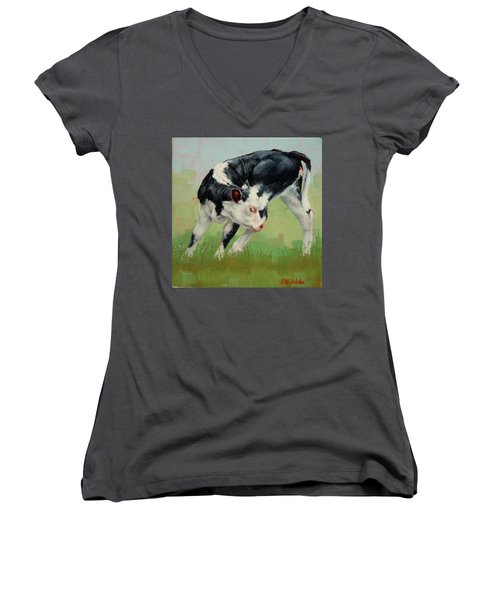 Women's V-Neck T-Shirt (Junior Cut) featuring the painting Calf Contortions by Margaret Stockdale