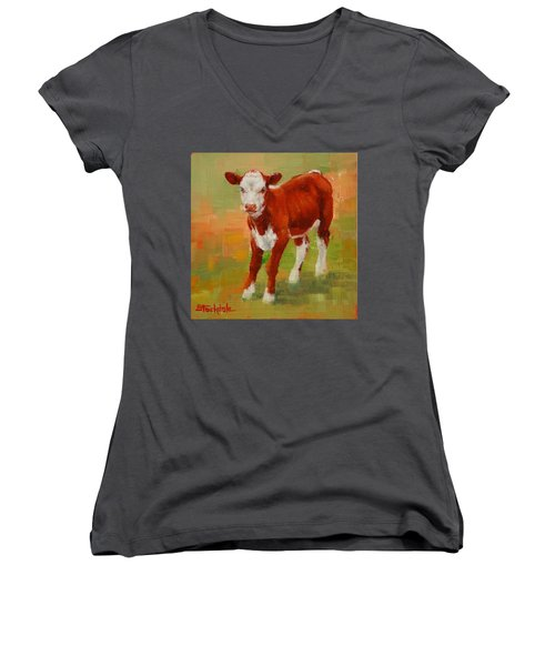 Women's V-Neck T-Shirt (Junior Cut) featuring the painting Calf Miniature by Margaret Stockdale