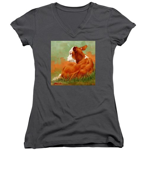 Women's V-Neck T-Shirt (Junior Cut) featuring the painting Calf Reclining by Margaret Stockdale