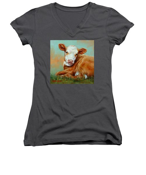 Women's V-Neck T-Shirt (Junior Cut) featuring the painting Calf Resting by Margaret Stockdale