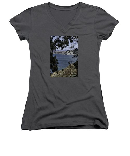 Women's V-Neck T-Shirt (Junior Cut) featuring the photograph Cali Shore by Judy Wolinsky
