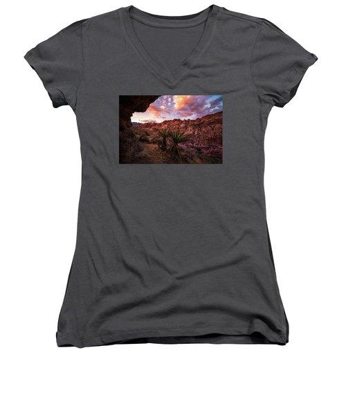 Calico Sunset Women's V-Neck T-Shirt (Junior Cut) by Bjorn Burton