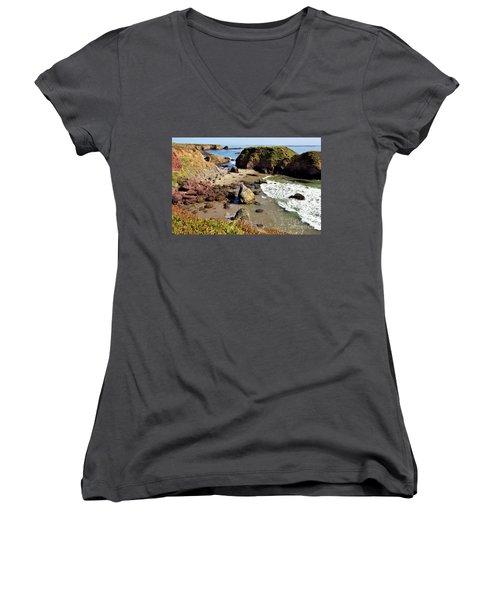 California Coast Rocks Cliffs Iceplant Women's V-Neck T-Shirt (Junior Cut) by Dan Carmichael