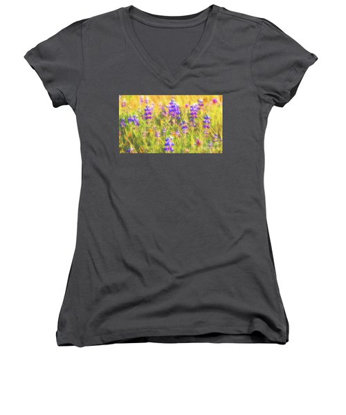 California Lupines Redux Women's V-Neck (Athletic Fit)