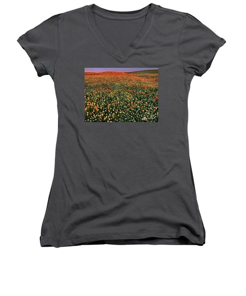 Women's V-Neck featuring the photograph California Poppies At Dawn Lancaster California by Dave Welling