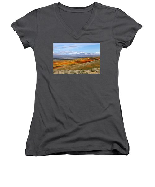 California Poppy Reserve Women's V-Neck (Athletic Fit)