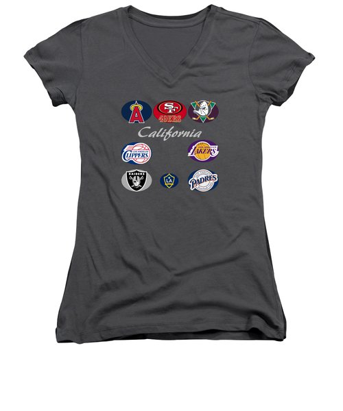 California Professional Sport Teams Collage  Women's V-Neck