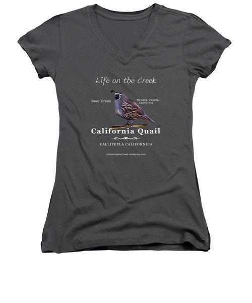 California Quail - Color Bird - White Text Women's V-Neck