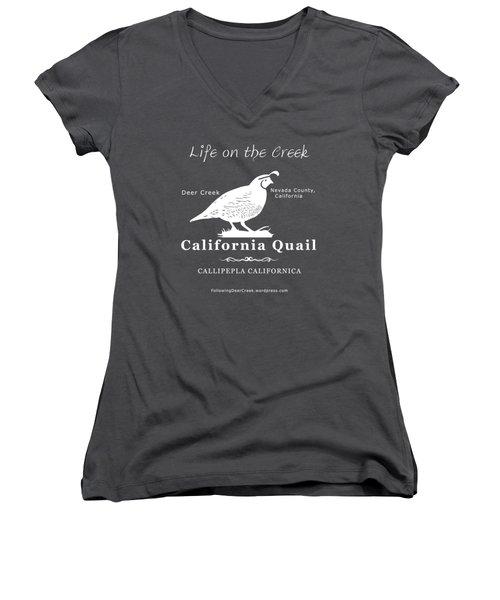 California Quail - White Graphics Women's V-Neck