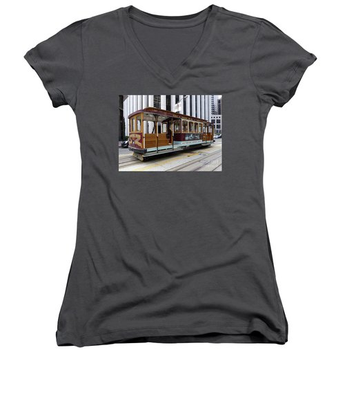 Women's V-Neck T-Shirt (Junior Cut) featuring the photograph California Street Cable Car by Steven Spak