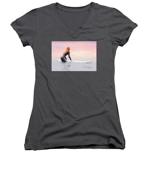 California Surfer Girl I Women's V-Neck (Athletic Fit)